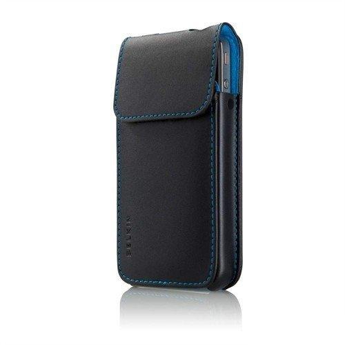 Belkin F8Z893CWC00 Lederhülle (geeignet für Apple iPhone 4) schwarz/blau Verve Sleeve