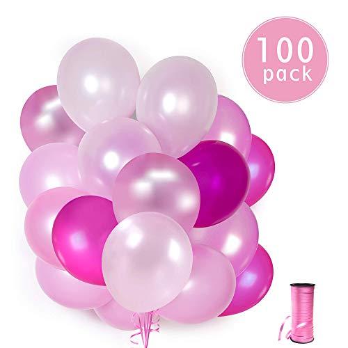 100 Globos rosas de látex + Cinta rosa + Soportes + Pegatinas de pared de globos   5 colores mezclados   Fiesta rosa, Primera Comunion, Bautizo Niña, Boda, Cumpleaños   30 centímetros   Helio o Aire