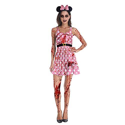 S Themen Kostüm Party - WYZDQ Weibliches Zombiekostüm Adult Bloody Sexy Horror Quality Dress Up für Frauen - Medium Halloween Thema Party Kostüme,S