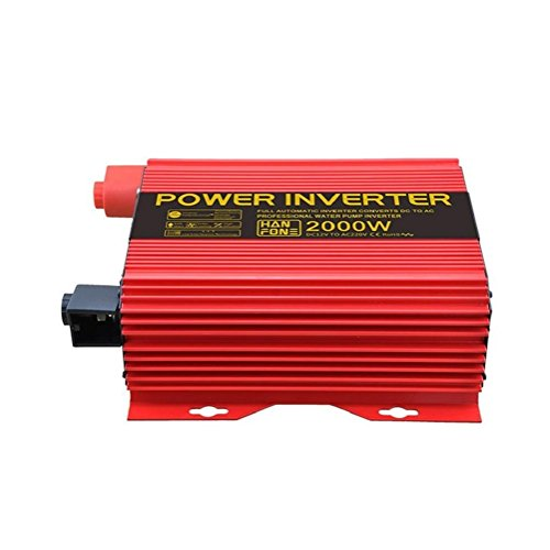 Solar PV KFZ Konverter Power Inverter DC 12V auf 220V Wechselrichter mit Zigarettenanzünder Adapter 2000W (rot) (Starter-pumpe Jump)