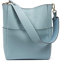 Bostanten Bolsos de Mujer Cuero Genuino Bolso Tote Bolsa de mano Bolso Bandolera Bolsa de hombro Hobo bag Azul claro