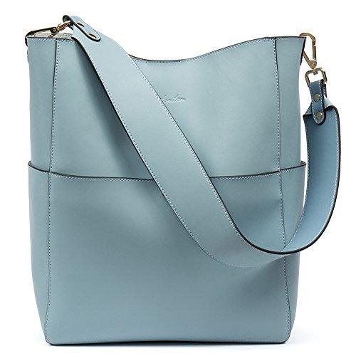 BOSTANTEN Leder Damen Handtasche Schultertasche Designer Umhängetasche Tasche Groß Hellblau (Designer-handtasche Tote Bag)