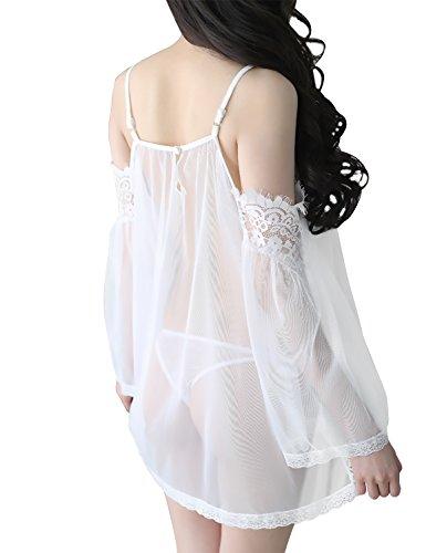 Yidarton Damen Negligee Reizwäsche Spitze Dessous Set Babydoll Nachtwäsche Unterwäsche mit G-String Weiß