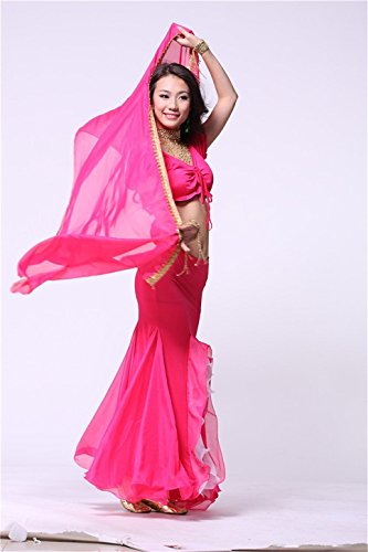 200cmx70cm Chiffon Indian Dance du ventre costume Danse du ventre costume Hand Dyed Silk Veil Shawl ¨¦charpe Dark Pink