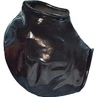 Cubretestículos de látex con borde enrollable en rojo o negro.