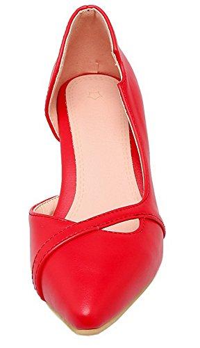 Rouge Légeres Fermeture Chaussures Cuir à AgooLar Femme Talon Tire PU Correct DOrteil pwvv7xOIPq