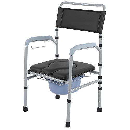 Anziani mobile per wc, in lega di alluminio adulto pieghevole wc wc wc sedia sedile da bagno, con regolazione altezza five-speed