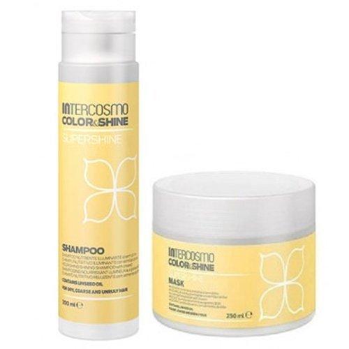 INTERCOSMO Color & Shine Supershine Shampoo 300ml + Mask 250ml Kit Per Capelli Secchi