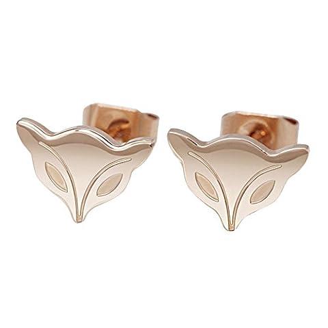 Fashion Elegant Creative Titanium Steel Earrings Fox Shaped Pendant Stud Earring Women Girls Gift