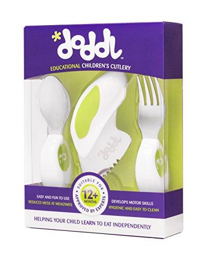 Doddl Kinderbesteck set, für Kleinkinder und Babies 12 Monate +, Kinder Messer, Gabel & Löffel Set, Ergonomisches Edelstahl Geschirr, hilft Ihrem Kind sich selbst richtige zu füttern (Limettengrün