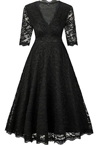 EVA Elegant Damenkleid Spitzenkleid knielanges Sommerkleid Herbstkleid festliches Partykleid...