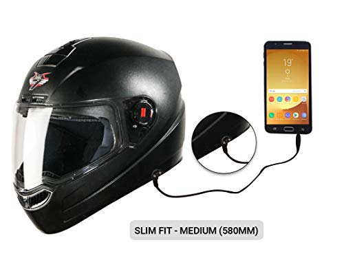 Steelbird SBA-1 7Wings HF Dashing Full Face Helmet with Plain Visor and Detachable Handsfree Device (MEDIUM 580 MM SLIM FIT, BLACK)
