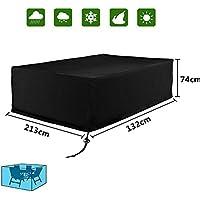 [Patrocinado]Diossad Cubierta de Protección para Muebles de Jardín Impermeable para Cubierta protectora de Mesas Negro 213 x 132 x 74cm