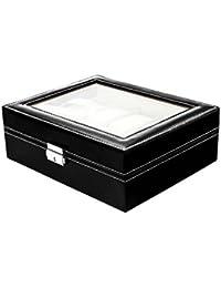 Lindberg & Sons - Estuche para relojes Lindberg & Sons B1O62 unisex (cuero negro, 10 compartimientos, almohadas de presentación en terciopelo suave color crema, diseño único elegante clásico chic)
