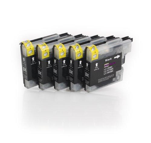 5er Set - Tintenpatronen kompatibel zu BROTHER LC985 | 5x schwarz Druckerpatronen | geeignet für...