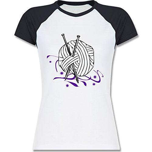 Statement Shirts - Stricken - zweifarbiges Baseballshirt / Raglan T-Shirt für Damen Weiß/Navy Blau