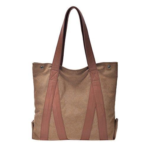Leinwand Damen Große Kapazität Einfache Literatur Wearable Atmungsaktiv All-Spiel Handtasche Brown2