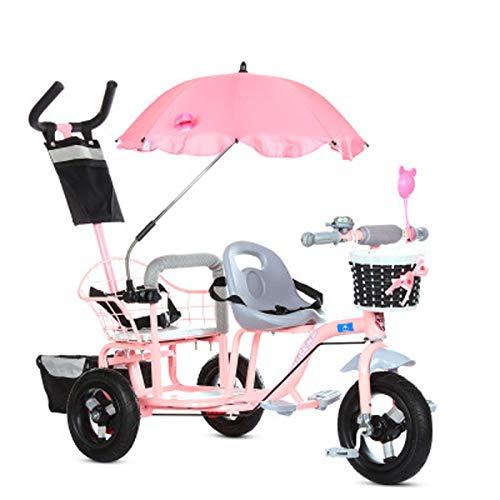 JHGK Tandem-Dreirad Für Kinder, Tandem-Dreirad-Pedalrad, Titan-Dreirad Mit Sonnenschirm-Heckrahmen, Kinder-Doppel-Dreirad Aus Karbonstahl Tricycle,Rosa