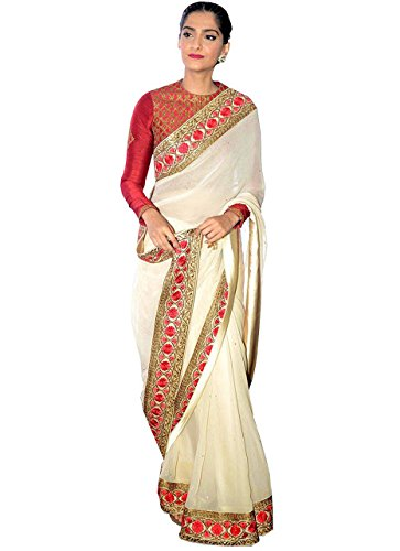 Sonam Kapoor White & Red Georgette Replica Saree  available at amazon for Rs.1425
