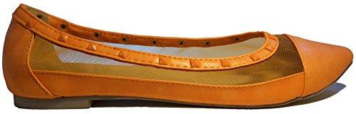 Ballerines transparents, orange, jaune, beige ou noir, très sexy, modèle 11064101001601, escarpins, modèles et tailles différents. Orange.