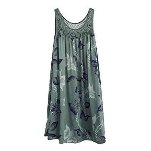 XuxMim 1950er Ärmellos Vintage Retro Spitzenkleid Rundhals Abendkleid(Armeegrün-2,XXXXX-Large)
