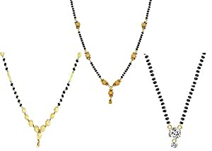 Sukkhi Sparkling Gold Plated Wedding Jewellery Cz Solitaire Mangalsutra Combo For Women (CB72788GLDPD032018_D1)