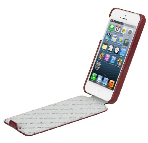 Schicke Melkco Ledertasche / Flip Case für Apple iPhone 5 / 5S Bordeaux / Rot Bordeaux