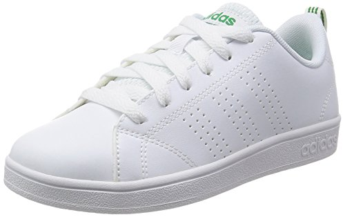 adidas VS Advantage Clean K, Baskets, Unisexe, Enfant, Blanc (Footwear White/Footwear White/Green 0), 38 EU