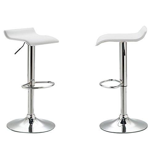 Barhocker 2er-Set PIEGA Barstuhl Tresenhocker mit Fußablage höhenverstellbar, Metallgestell verchromt, in weiß