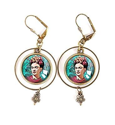 Boucles d'oreilles Cabochon, Frida Kahlo, bohême chic, boho, gypsy