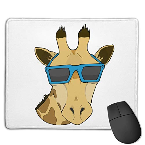 Mouse Pad Cute Giraffe with Sunglasses Art Rectangle Rubber Mousepad 8.66 X 7.09 Inch Gaming Mouse Pad with Black Lock Edge