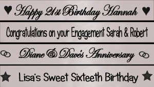 Personalisiert Silber Fahne Banner 1.2 Meter Perfect decoration for Weddings, anniversaries, 16th 18th 21st 25th 30th 40th 50th 60th birthday parties, wedding engagement, hen parties (Birthday Personalisierte Banner 40th)