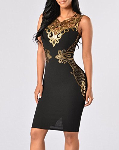 Donna Sexy V Collo Moda Sottile Stampato Vestiti Cocktail Vestito Bodycon Abito Abiti Dress Nero