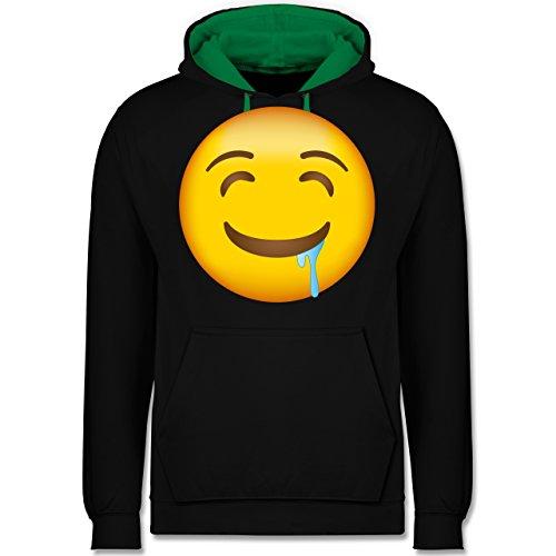 Comic Shirts - Emoji Wasser im Mund - Kontrast Hoodie Schwarz/Grün