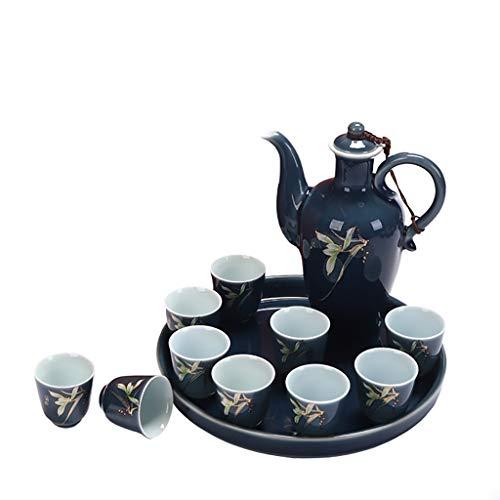 QAHJB Licores de cerámica de Lujo, Copa de Vino, Juego Premium. (Color : B)
