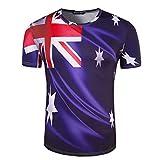 MOTOCO Herren T-Shirt/O-Ausschnitt Kurzarm American USA Flag Rock Gedruckt Plus Size Independence Day Tops(M,Blau)