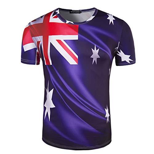 MOTOCO Herren T-Shirt/O-Ausschnitt Kurzarm American USA Flag Rock Gedruckt Plus Size Independence Day Tops(XL,Blau)