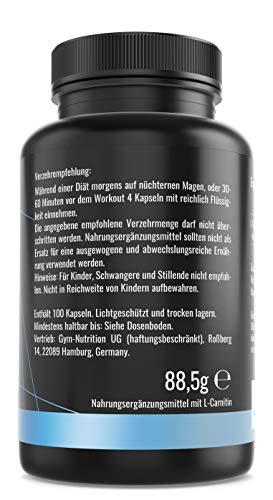 GYM – NUTRITION PREMIUM L-CARNITIN 3000 | Mega Hochdosiert | Für Die Definitionsphase und Diät | Beliebt bei Sportlern | 100 Kapseln | Vegan | Made in Germany - 3