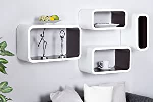 Club Cube étagère multiusage Système Lot de 4Ensemble de salon Style–Blanc/Marron