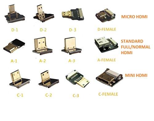 FPV HDMI Anschlüsse Mikro Mini Standard HDMI 90 Grad abgewinkelt männlich Schnittstelle weibliche Schnittstelle gerade Stecker (Micro HDMI D-1)