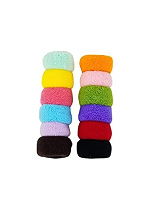 Evogirl Multicolour Cotton Wool Soft Bun Rubber Bands for Women - Pack of 2