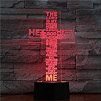 3D Night Light,Jesus Cross Touch Remote Control Night Light Stereo Panel Table Decoration 7 Colors Change Bedroom Lamp Living Room 3D LED Table Lamp Acrylic Halloween Colorful