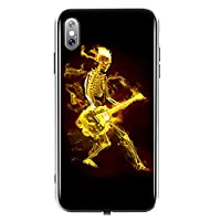 TEOYALL iPhone XS Case,Soft TPU and Tempered Glass Back iPhone Cover,Guitar-Skull Luminous cases for iphone xs