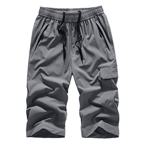 VPASS Pantalones Hombre,Verano Pantalones Casuales Moda Tallas Grandes Deportivos Color Sólido Secado...