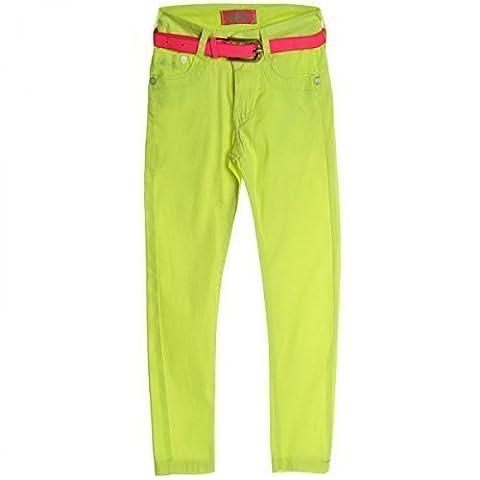 Mädchen Kinder Jeans Hose Röhre Straight Fit Stretch Bootcut mit Gürtel 20331, Farbe:Gelb;Größe:152