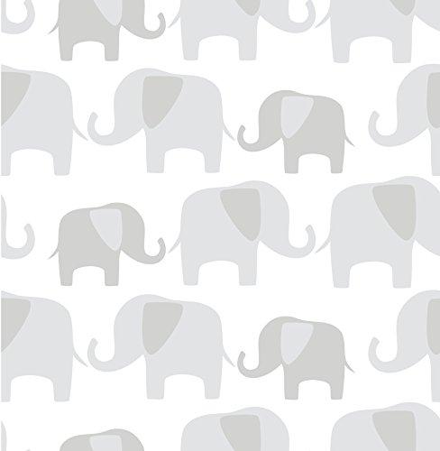 NuWallpaper Peel and Stick de Elefantes, Gray Papel Pintado