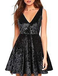 a745a800c0fa Blooming Jelly Women s Velvet Deep V Neck Mini Dress Strappy Sleeveless  Open Back Elastic Pleated Zip