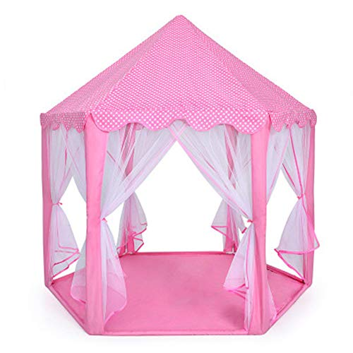 Belüftete Tür-sicherheit (Kinder Pink Princess Castle Playhouse, Hexagon Spielzelt Toy House Kinderspielhaus für Kinder Kleinkinder Indoor \u0026 Outdoor Spiele, Schnellmontage 119x140cm-Lightpink)