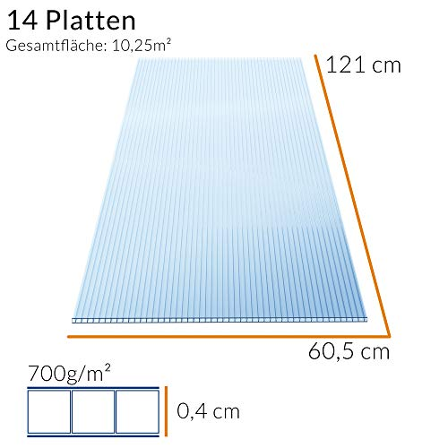 Deuba Hohlkammerstegplatten 14 Stück | 10,25 m² | - 7
