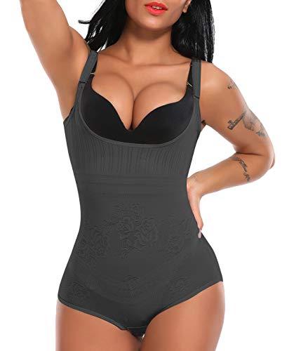 SLIMBELLE Donna Body Shaper Aperto Busto Intimo Modellante Piacevole Shapewear Corsetto Seno Contenitivo Pancia Dimagrante-Black-S